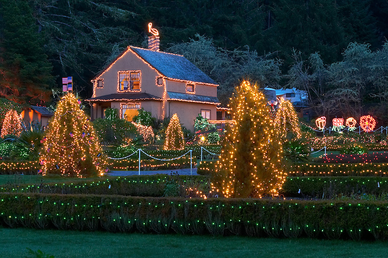 Christmas lights at Shore Acres State Park. Oregon