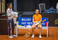 Den Bosch, The Netherlands, April 15, 2021,    Maaspoort, Billy Jean King Cup  Netherlands -  China : practice, Kiki Bertens (NED) with her coach EliseTamaëla (NED)<br /> Photo: Tennisimages/Henk Koster