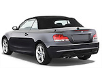 Rear three quarter view of a 2007 - 2011 BMW 1-Series 135i convertible.
