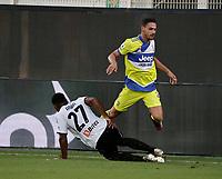 22nd September 2021; Picco Stadium, La Spezia, Italy; Serie A football, Spezia FC versus Juventus  FC: Mattia De Sciglio of Juventus is slide tackled by Amian of Spezia