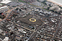 Pictured: The area where the Vetch Field, former home ground of Swansea City Football Club ground was, Swansea prison and Civic Centre top right. 16 September 2011<br />