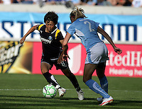 LA Sol midfielder Aya Miyama (8) makes a move against Chicago Red Star defender Marian Dalmy (2).  The Chicago Red Stars defeated the LA Sol 3-1 at Toyota Park in Bridgeview, IL on August 2, 2009.