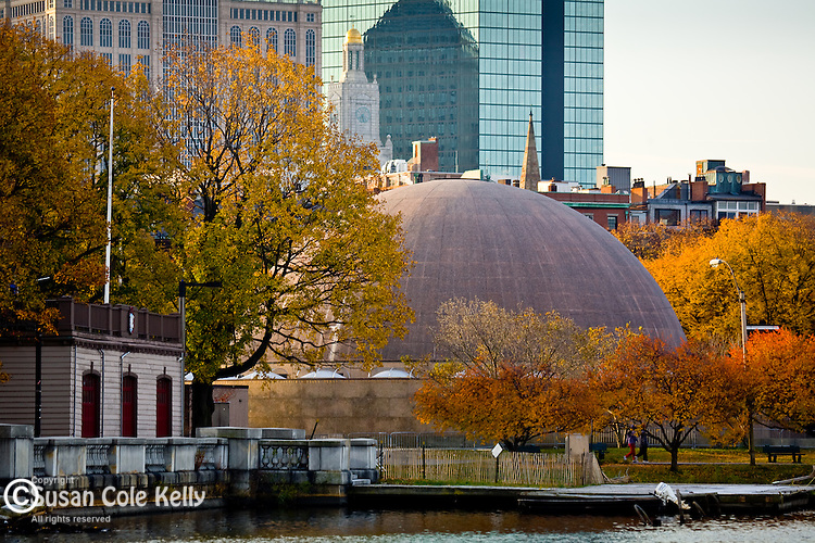 Fall foliage colors the Hatch Shell on the Charles River Esplanade in the Back Bay of Boston, MA, USA