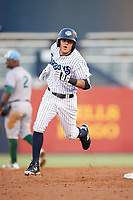 Tampa Tarpons right fielder Pablo Olivares (16) rounds the bases after hitting a home run in the bottom of the fourth inning during a game against the Daytona Tortugas on April 18, 2018 at George M. Steinbrenner Field in Tampa, Florida.  Tampa defeated Daytona 12-0.  (Mike Janes/Four Seam Images)