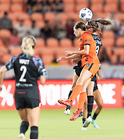 HOUSTON, TX - SEPTEMBER 10: Shea Groom #6 of the Houston Dash and Morgan Gautrat #13 of the Chicago Red Stars both go up for a header during a game between Chicago Red Stars and Houston Dash at BBVA Stadium on September 10, 2021 in Houston, Texas.