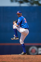 St. Lucie Mets relief pitcher Jimmy Duff (25) delivers a pitch during a game against the Brevard County Manatees on April 17, 2016 at Tradition Field in Port St. Lucie, Florida.  Brevard County defeated St. Lucie 13-0.  (Mike Janes/Four Seam Images)