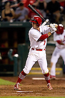 Greg Garcia (7) of the Springfield Cardinals at bat during a game against the Arkansas Travelers at Hammons Field on June 13, 2012 in Springfield, Missouri. (David Welker/Four Seam Images)