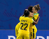 GRENOBLE, FRANCE - JUNE 18: Havana Solaun #6 of the Jamaican National Team celebrates her goal with teammates during a game between Jamaica and Australia at Stade des Alpes on June 18, 2019 in Grenoble, France.