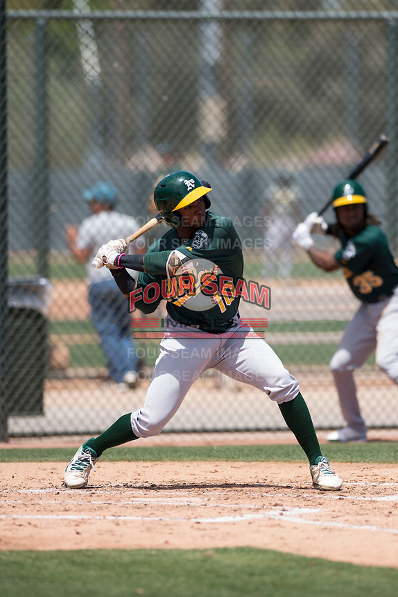 Oakland Athletics outfielder Danny Bautista (10) at bat during an Extended Spring Training game against the San Francisco Giants Orange at the Lew Wolff Training Complex on May 29, 2018 in Mesa, Arizona. (Zachary Lucy/Four Seam Images)