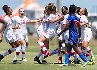 Bradenton, FL - Sunday, June 12, 2018: Canada, goal celebration prior to a U-17 Women's Championship 3rd place match between Canada and Haiti at IMG Academy. Canada defeated Haiti 2-1.