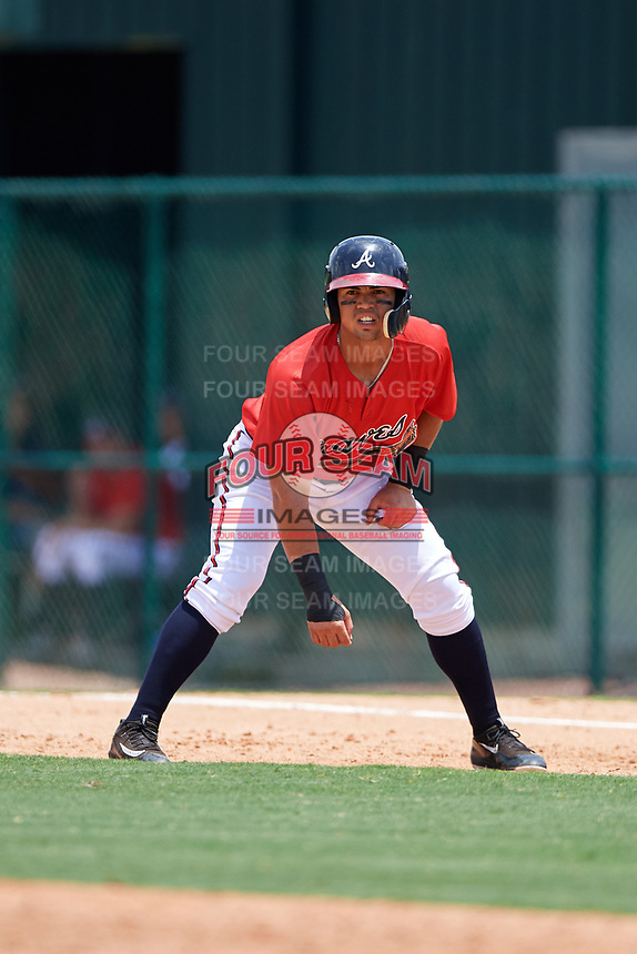 GCL Braves left fielder Jefrey Ramos (22) leads off first base during a game against the GCL Pirates on July 27, 2017 at ESPN Wide World of Sports Complex in Kissimmee, Florida.  GCL Braves defeated the GCL Pirates 8-6.  (Mike Janes/Four Seam Images)
