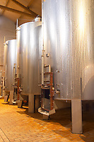 Clos Bagatelle St Chinian. Languedoc. Stainless steel fermentation and storage tanks. Floating top vats. France. Europe.