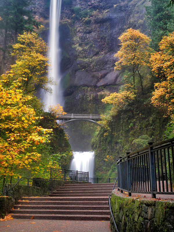 Multnomah Falls with steps and fall color. Columbia River Gorge National Scenic Area, Oregon