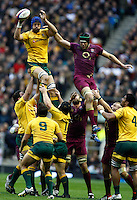 Photo: Richard Lane/Richard Lane Photography. England v Australia. QBE Autumn Internationals. 17/11/2012. Australia's Nathan Sharpe wins a lineout as England's Tom Palmer challenges.