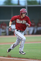 Jacy Cave (11) of the AZL Diamondbacks runs to first base during a game against the AZL Dodgers at the Los Angeles Dodgers Spring Training Complex on July 3, 2015 in Glendale, Arizona. Diamondbacks defeated the Dodgers, 5-1. (Larry Goren/Four Seam Images)
