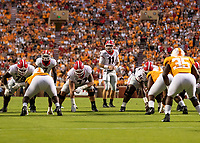 KNOXVILLE, TN - OCTOBER 5: Jake Fromm #11 of the Georgia Bulldogs leads the Bulldogs on offense during a game between University of Georgia Bulldogs and University of Tennessee Volunteers at Neyland Stadium on October 5, 2019 in Knoxville, Tennessee.