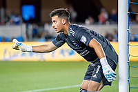 SAN JOSE, CA - AUGUST 13: JT Marcinkowski #1 of the San Jose Earthquakes directs his defense during a game between San Jose Earthquakes and Vancouver Whitecaps at PayPal Park on August 13, 2021 in San Jose, California.