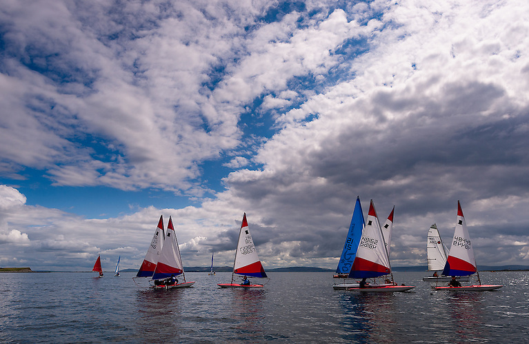 Topper dinghies from Galway City Sailing Club sailing on Galway Bay