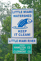 A sign points out the need to keep our rivers clean. This sign stands near the Little Miami River in southern Ohio. (do)