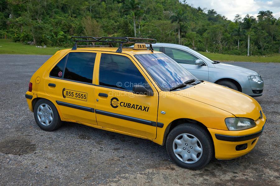 Cuba, Pinar del Rio Region, Viñales (Vinales) Area.  Taxi.
