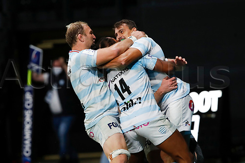 26th September 2020, Paris La Défense Arena, Paris, France; Champions Cup rugby semi-final, Racing 92 versus Saracens; Imhoff (Racing 92) goes over for a try and celebrates with Russell (Racing 92)