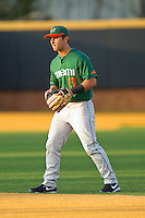 Second baseman Michael Broad #8 of the Miami Hurricanes on defense against the Wake Forest Demon Deacons at Gene Hooks Field on March 18, 2011 in Winston-Salem, North Carolina.  Photo by Brian Westerholt / Four Seam Images