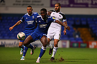 16th September 2020; Portman Road, Ipswich, Suffolk, England, English Football League Cup, Carabao Cup, Ipswich Town versus Fulham; Aleksandar Mitrovic of Fulham cannot connect with a cross as he is held off the ball