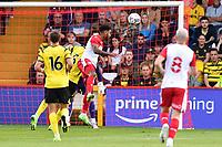 Jamie Reid of Stevenage FC heads wide during Stevenage vs Watford, Friendly Match Football at the Lamex Stadium on 27th July 2021