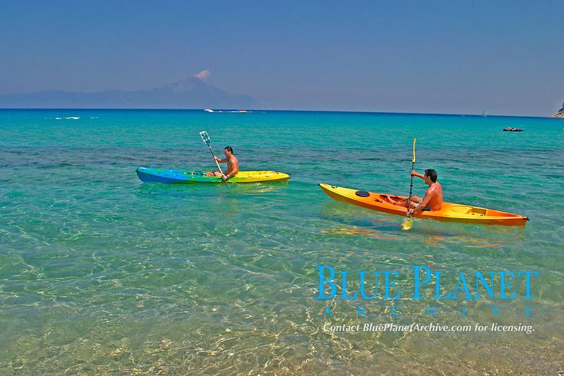 men kayaking, Halkidiki, Greece, Aegean, Mediterranean, Europe