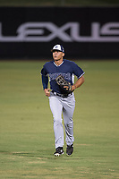 AZL Padres 2 center fielder Sean Guilbe (10) jogs off the field between innings of an Arizona League game against the AZL Angels at Tempe Diablo Stadium on July 18, 2018 in Tempe, Arizona. The AZL Padres 2 defeated the AZL Angels 8-1. (Zachary Lucy/Four Seam Images)