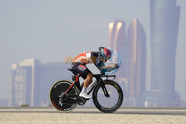 Caleb Ewan (AUS) Lotto-Soudal during Stage 2 of the 2021 UAE Tour an individual time trial running 13km around  Al Hudayriyat Island, Abu Dhabi, UAE. 22nd February 2021.  <br /> Picture: Eoin Clarke | Cyclefile<br /> <br /> All photos usage must carry mandatory copyright credit (© Cyclefile | Eoin Clarke)
