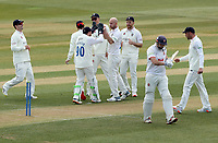 Chris Rushworth of Durham celebrates taking the wicket of Nick Browne during Essex CCC vs Durham CCC, LV Insurance County Championship Group 1 Cricket at The Cloudfm County Ground on 15th April 2021