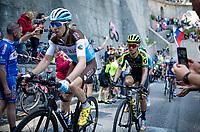 breakaway group, including eventual stage winner Esteban Chaves (COL/Mitchelton-Scott), at the Passo di San Boldo<br /> <br /> Stage 19: Treviso to San Martino di Castrozza (151km)<br /> 102nd Giro d'Italia 2019<br /> <br /> ©kramon