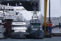 Border Control vessel HMC Valiant (R) by a shipyard in the Perama area of Piraeus, Greece. Thursday 03 January 2019