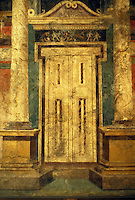 Italy: Pompeii--National Museum, Doorway (trompe l'oeil) fresco.