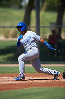 AZL Royals Felix Familia (7) at bat during an Arizona League game against the AZL Dodgers Lasorda on July 4, 2019 at Camelback Ranch in Glendale, Arizona. The AZL Royals defeated the AZL Dodgers Lasorda 4-1. (Zachary Lucy/Four Seam Images)