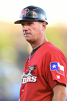 Frisco Rough Riders manager Jason Wood (40) during the second game of a doubleheader against the Tulsa Drillers on May 29, 2014 at ONEOK Field in Tulsa, Oklahoma.  Frisco defeated Tulsa 3-2.  (Mike Janes/Four Seam Images)