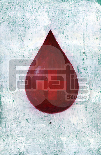 Illustrative image of cross in a red drop representing blood donation