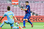 Luis Suarez of FC Barcelona (R) attempts a kick while being defended by Goalkeeper Leandro Chichizola of UD Las Palmas (L) during the La Liga 2017-18 match between FC Barcelona and Las Palmas at Camp Nou on 01 October 2017 in Barcelona, Spain. (Photo by Vicens Gimenez / Power Sport Images
