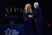 Washington, DC - March 2, 2020: U.S Vice President Mike Pence greets AIPAC president Betsy Berns Korn before addressing attendees of the AIPAC Policy Conference at the Washington Convention Center March 2, 2020.  (Photo by Don Baxter/Media Images International)