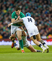 Saturday 2nd February 2019 | Ireland vs England<br /> <br /> Jacob Stockdale on the attack is tackled by Tom Curry and Jack Nowell during the opening Guinness 6 Nations clash between Ireland and England at the Aviva Stadium, Lansdowne Road, Dublin, Ireland.  Photo by John Dickson / DICKSONDIGITAL
