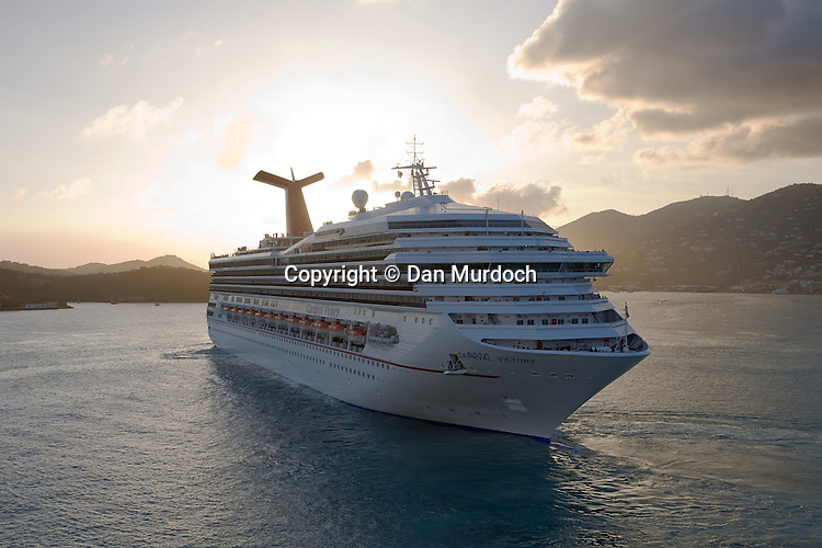 """The Carnival Cruise Line ship """"Victory"""" in the harbor of the Caribbean Island St. Thomas, USVI."""