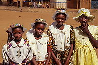 Niamey, Niger.  Young Girls Dressed in New Clothes to Celebrate the Muslim Eid al-Fitr at the end of Ramadan.