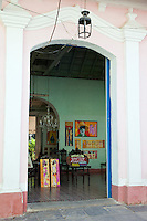 Cuba, Trinidad.  Hostal Entrance.