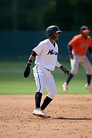 GCL Marlins Victor Mesa Jr. (9) leads off during a Gulf Coast League game against the GCL Astros on August 8, 2019 at the Roger Dean Chevrolet Stadium Complex in Jupiter, Florida.  GCL Astros defeated GCL Marlins 4-2.  (Mike Janes/Four Seam Images)