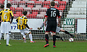 East Fife's Liam Buchanan scores their first goal from the penalty spot.