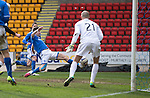 St Johnstone v Hibs...22.03.14    SPFL<br /> Steven MacLean misses a sitter as he puts the ball over<br /> Picture by Graeme Hart.<br /> Copyright Perthshire Picture Agency<br /> Tel: 01738 623350  Mobile: 07990 594431