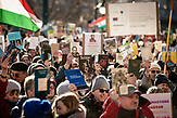 Demonstration gegen die finanzielle Sanktionierung wissenschaftliche Einrichtungen in Ungarn. Demonstration against the financial sanctioning of  scientific institutions in Hungary.<br /> People hold books as the symbol of the importance of science as the organizers suggested