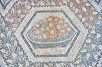 3rd century AD Roman mosaic panel of apples in a basket from Thugga, Tunisia.  The Bardo Museum, Tunis, Tunisia.