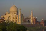 Taj Mahal at dawn on banks of Yamuna river, Agra, Uttar Pradesh, India